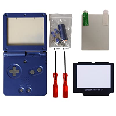 écran gba sp,eJiasu Coque Gameboy Advance Sp Complet Shell Coque Pack Replacement Pièces de rechange pour Housse Gameboy Advance SP Coque GBA SP Bleu