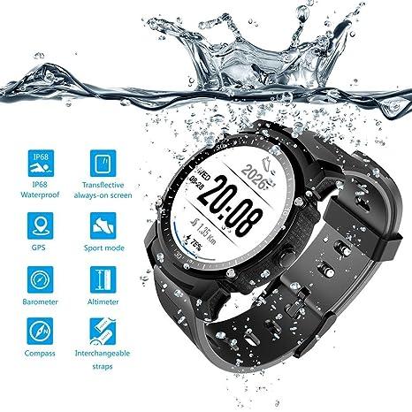 FS08 Reloj inteligente, apto para nadar, GPS, ritmo cardíaco, saludable, pantalla