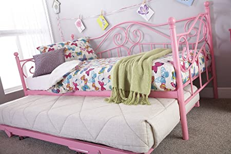 Madison 3ft Single Girl Pink Metal Day Bed With Pull Out Trundle Set
