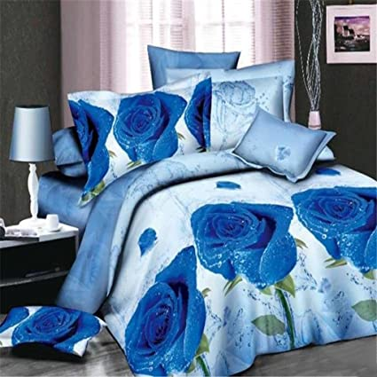 Blue Rose Complete Bedding Set With  Flower 3D Effect Print 4 Pieces