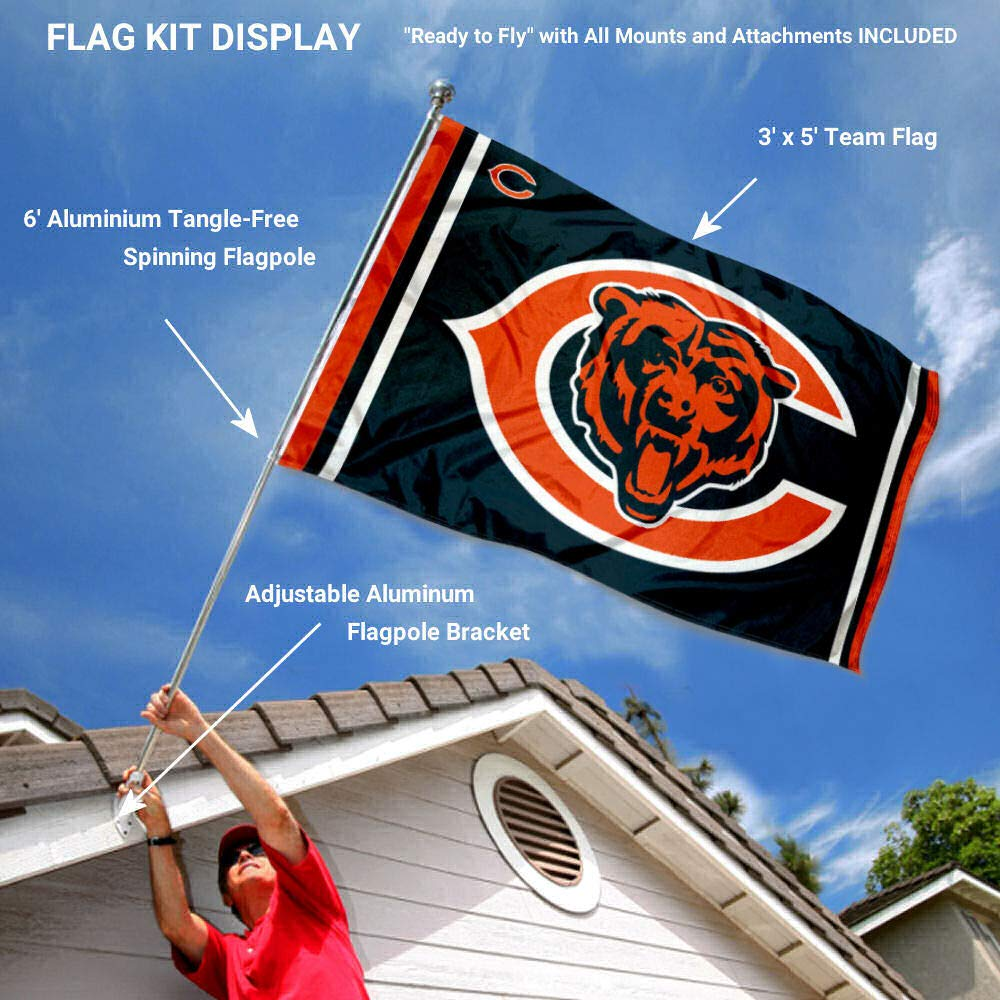 Wincraft Chicago Bears Dual Logo Flag Pole and Bracket Kit by Wincraft (Image #2)