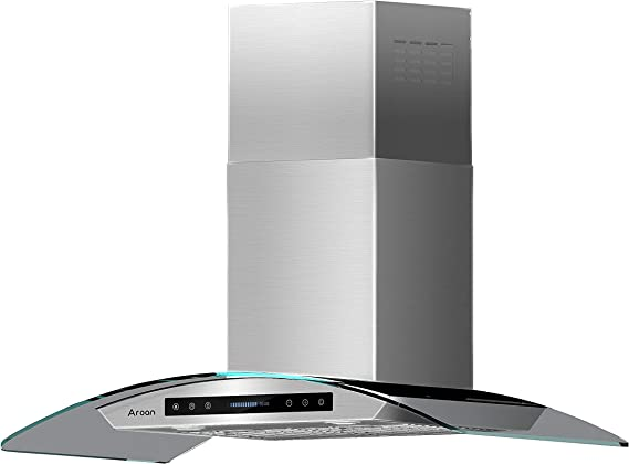 AROAN 36 inch Wall Mount Range Hood, Stainless Steel Kitchen Chimney Vent with 780 CFM & Four-Speed Touch Panel, 2pcs Adjustable LED, Tempered Glass Visor (PA03-36)