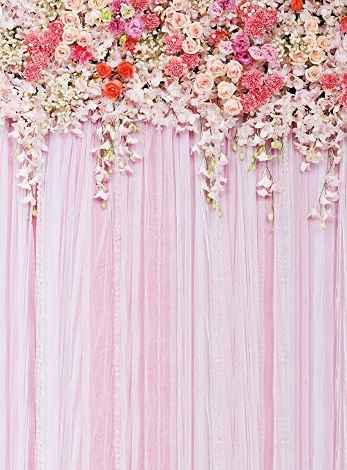 Bright 8x8ft Flowers Curtains Party Table Backdrop Photo Background For Wedding Children Fond Studio Vinyl Cloth Photography Backdrops Photo Studio Background