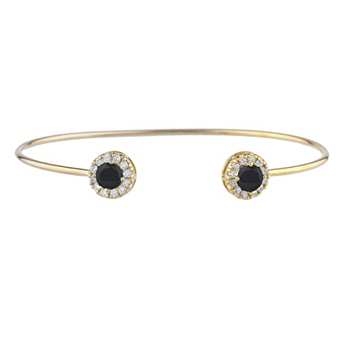 fc375c0c1776f0 Image Unavailable. Image not available for. Color: 1 Ct Genuine Black Onyx  Halo Design Bangle Bracelet 14Kt Yellow Gold ...