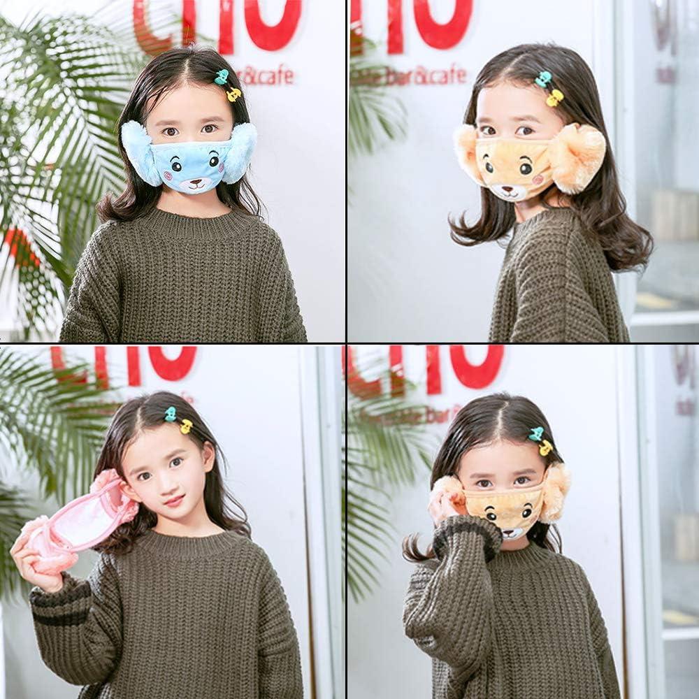 Student Ear Protection Warm Mask 2 In 1 Childrens Earmuffs Cartoon Cute Plush Bear Mask
