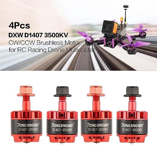 4pcs DXW D1407 3500KV 2-3S CW/CCW Motor sin escobillas para RC Drone Multicopter, Rojo: Amazon.es: Coche y moto