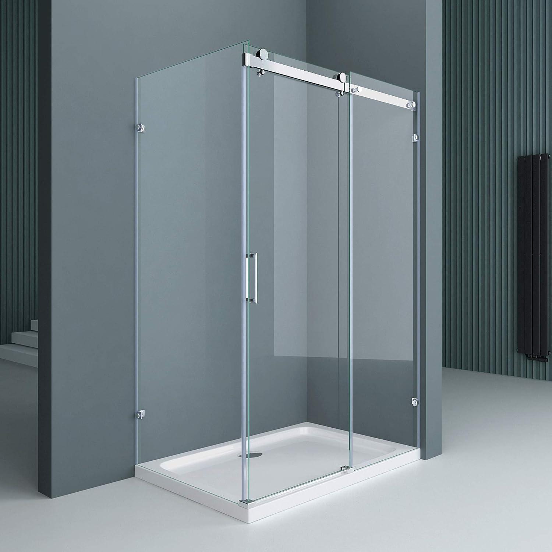con 4 puntos de fijaci/ón 75x100x195cm mampara de ducha con puerta corredera de vidrio de seguridad templado transparente doporro Cabina de ducha de esquina Ravenna17-2
