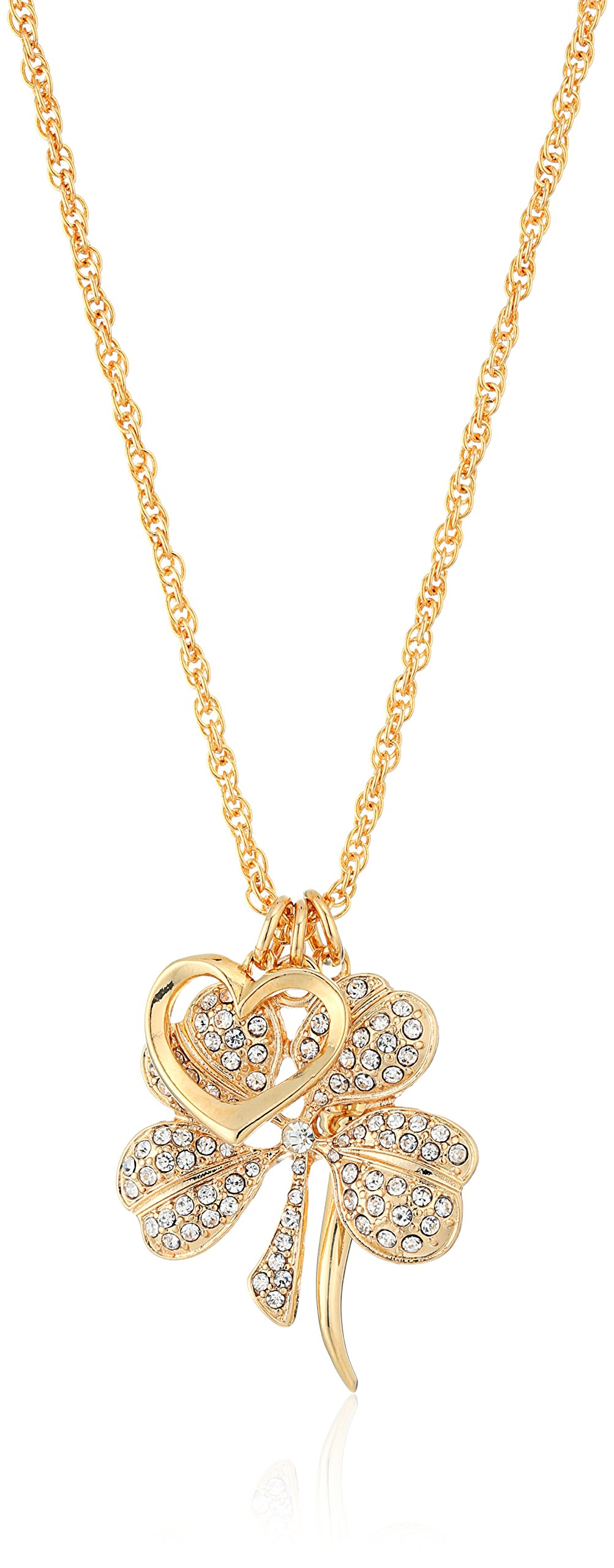 Kenneth Jay Lane Gold and Crystal Multi Charm Pendant Necklace, 33''