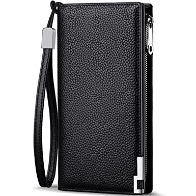 f8dde970ff7b Huztencor Long Wallets for Men Leather RFID Blocking Wallet Bifold Slim  Credit Card Holder Zip Around