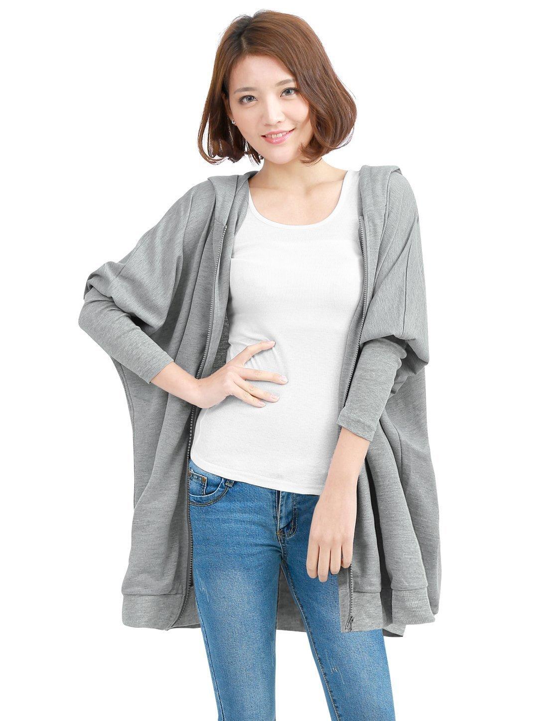 Allegra K Women Full Zip Long Batwing Sleeve Pockets Front Loose Fit Hooded Coat