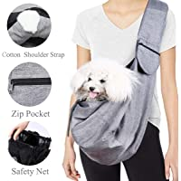 Musonic Pet Carrier, Hand Free Sling for Small Dog Cat Adjustable Cotton Padded Strap Outdoor Travel Shoulder Bag Tote Bag Safety Net Front Zipper Pocket Breathable Oxford Fabric Under 13 LBS Dogs