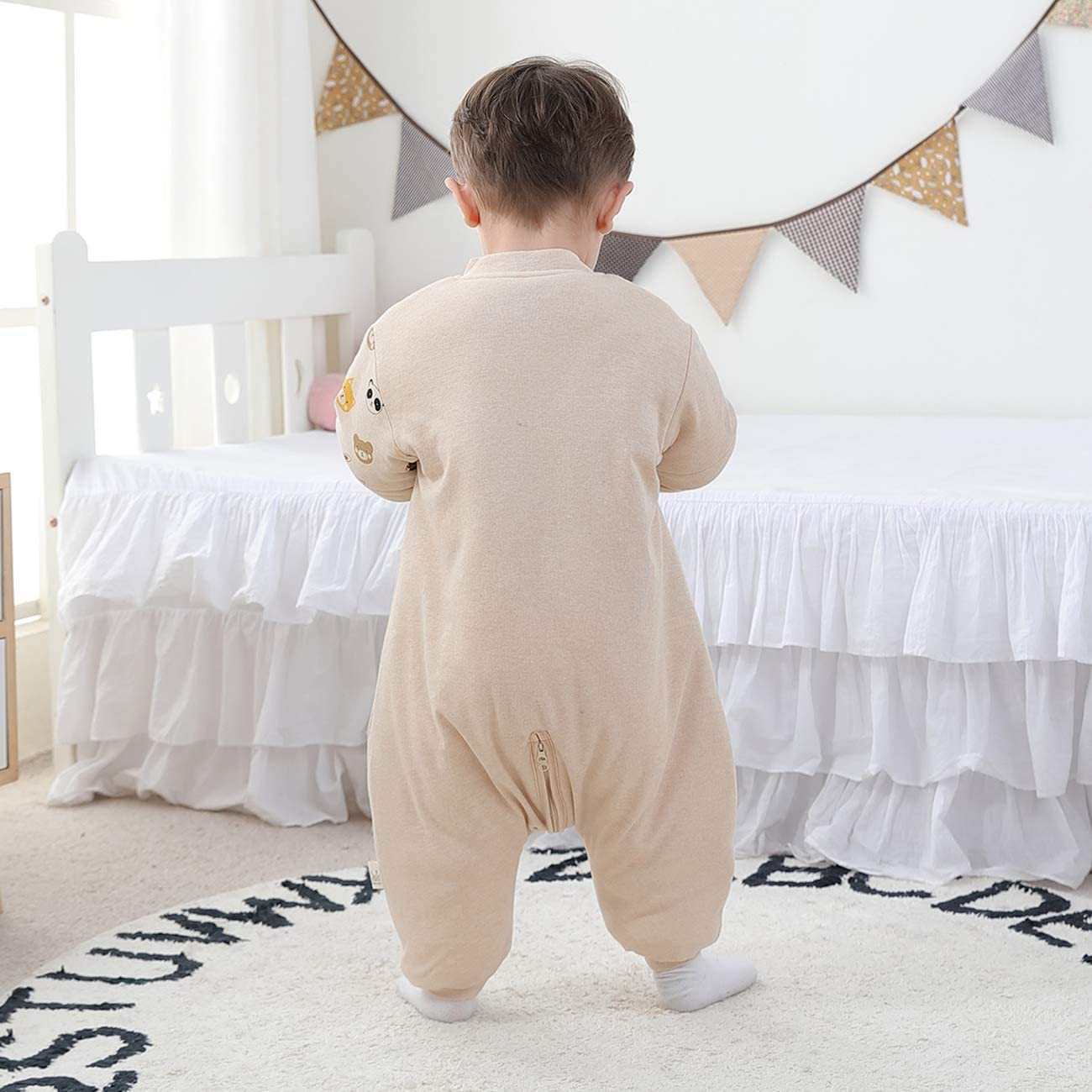 Baby Sleeping Bag with Legs Warmly Lined Winter Childrens Sleeping Bag Removable Sleeves boy Girl Unisex Pyjamas