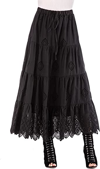Love Welove Fashion Women's Summer Solid Cotton Embroidered Tiered Flare A-line Ankle Length with Lining Maxi Skirt