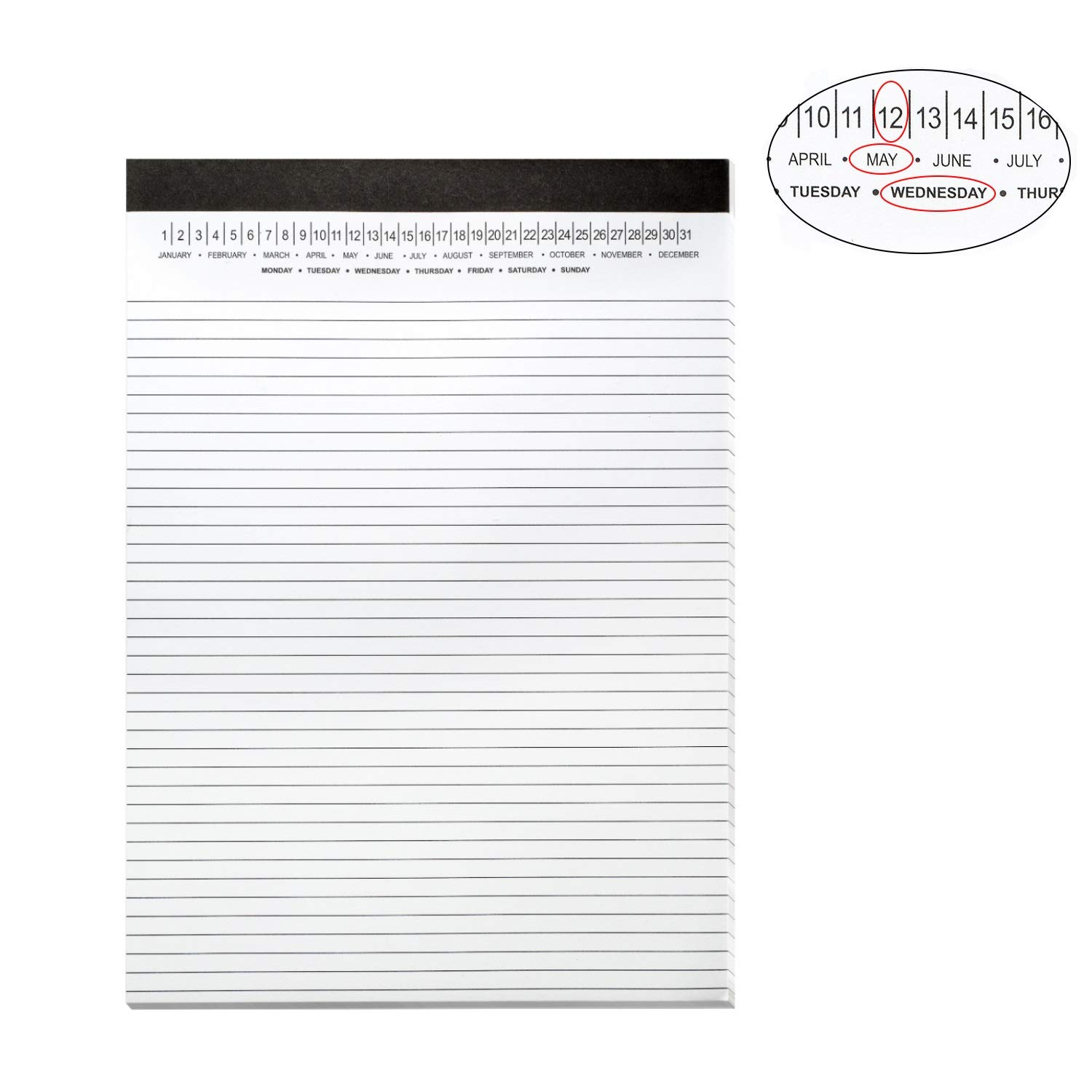 Legal Pads 8.5 x 11 with Date on Top, Narrow Ruled, White Note Pads College Ruled Writing Tablets for Office, School, 50 Sheets, 3 Pack by Mymazn