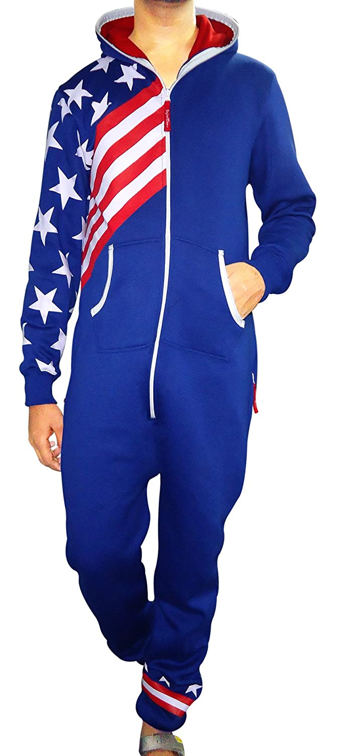 05e64b26a47f SKYLINEWEARS Men s Fashion Onesie Hooded Jumpsuit One Piece Non ...
