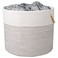 "INDRESSME Cotton Rope Basket - Cute Woven Toy Basket - Soft Nursey Laundry Basket for Baby - Small Toy Bin Organizer Kids Blanket, Throw Basket, 15""×15""×13"""
