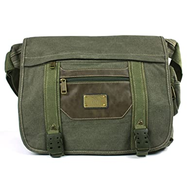 Green with Brown Trim Canvas Messenger Bag d80ca66faed