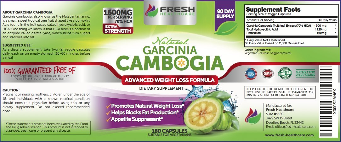 Fresh Healthcare 100% Pure Garcinia Cambogia Extract - 3 Month Supply & 1600mg Per Serving - Max HCA w/Potassium for Rapid Fat Loss and Weight Management - 180 Capsules