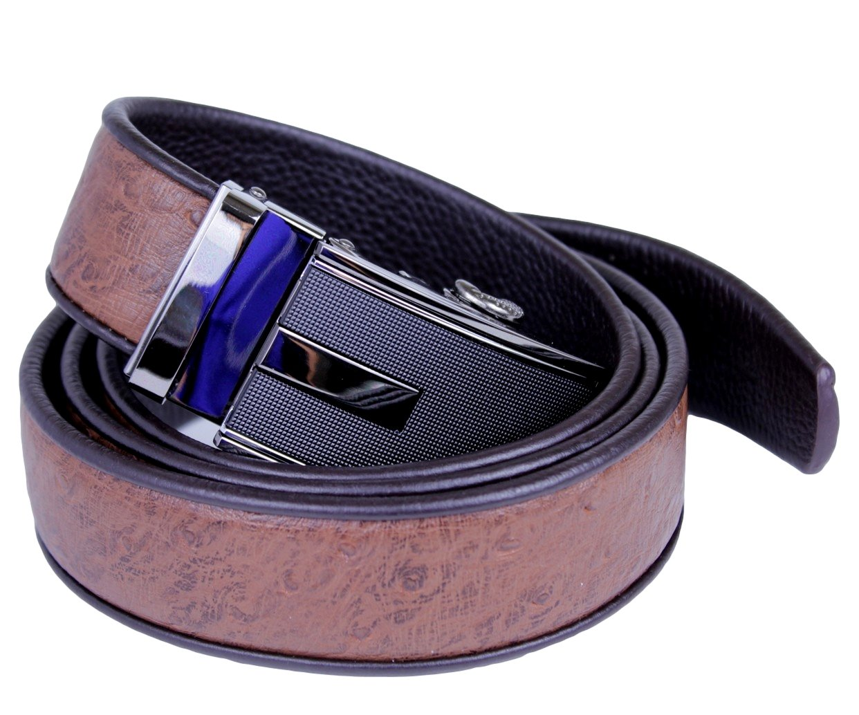 Mooniva Men's Leather Ratchet Belt Luxury Collection XX-Large (43''- 46'') Black