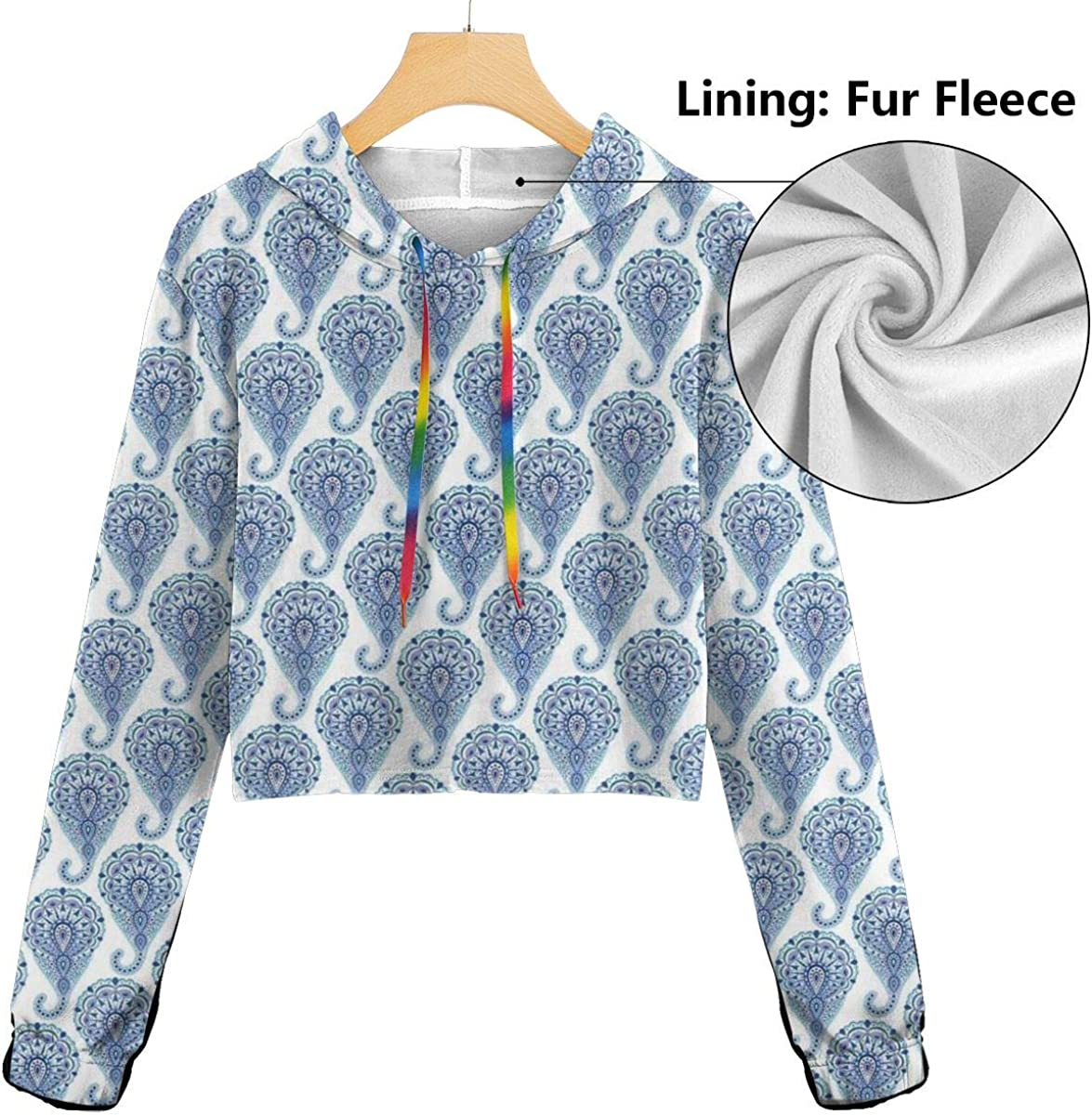 Womens Cropped Hoodie,Ethnic Paisley Motif with Floral Leaves Print On Raindrops,S-XL