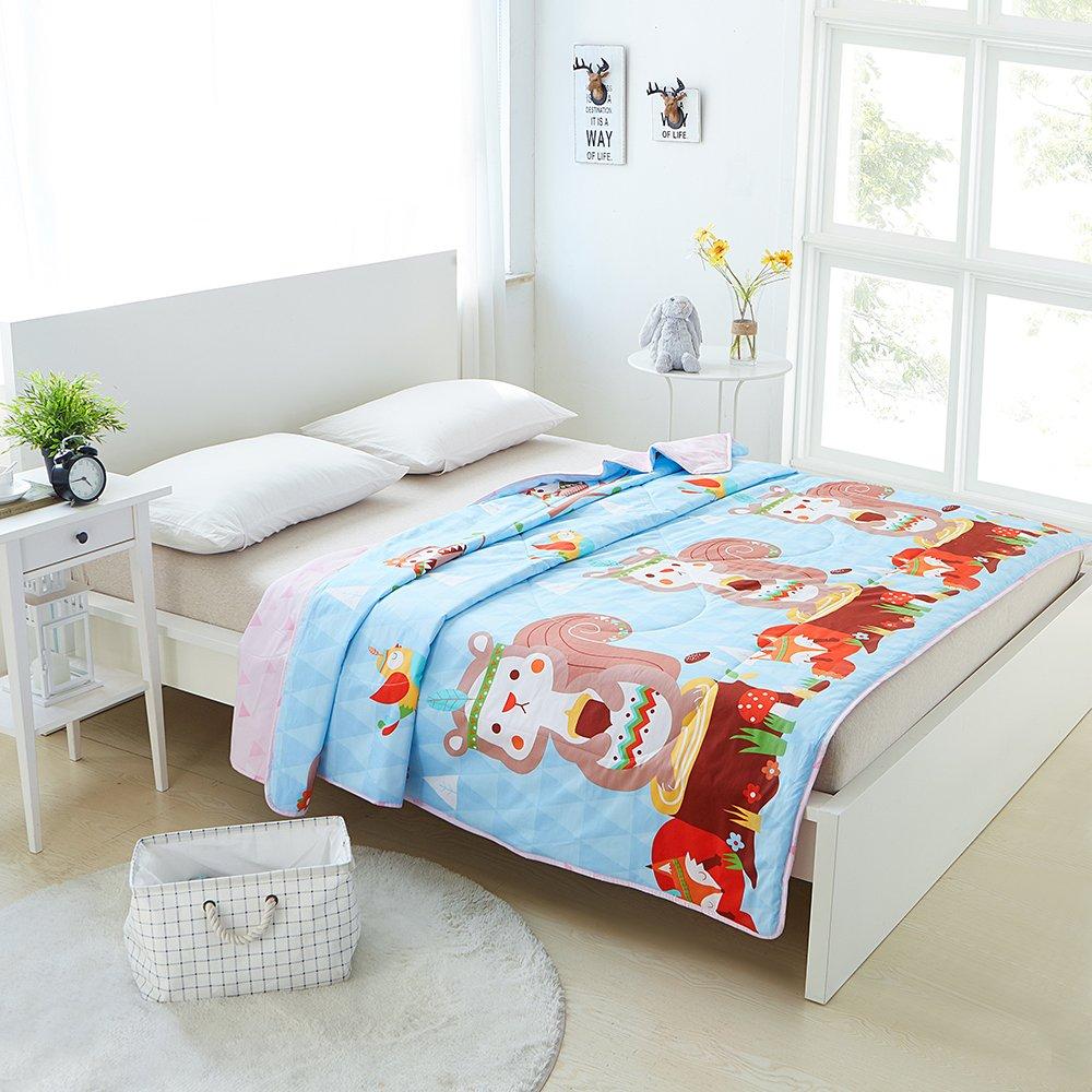 Enjoylife 1-Piece Soft Thin Quilt Washable Full Cotton Summer Comforter Animal Printing Pattern Squirrel BEDSPREADS&Blanket 200x230cm = 79''x90''