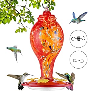 Hummingbird Feeders for Outdoors, Hand Blown Glass Hummingbird Feeder, Bird Feeders for Outside, Upgraded Never Leak Bird Feeder by Sahala Sailor (36-oz) (Red)