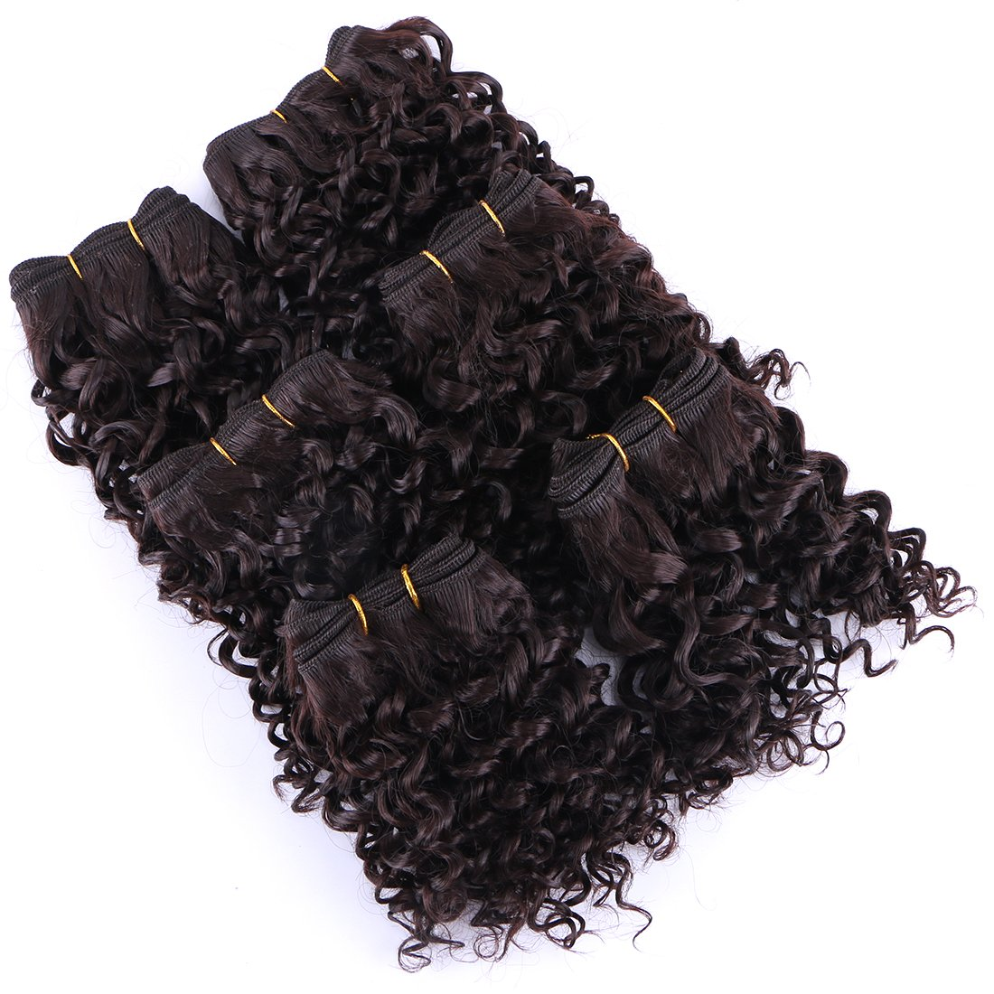Short Curly Hair Weave 6 Bundles 8 Inches Color 2 Heat Resistant