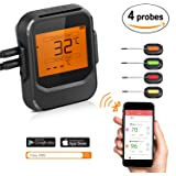 ROXTAK Bluetooth BBQ Thermometer, Wireless Remote Digital Barbecue Thermometer Cooking Meat Grill Food Temperature with 4 Probes, Timer, Alarm Support IOS & Android Suitable for Outdoor & Indoor