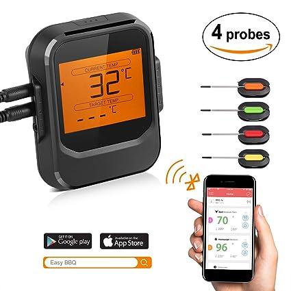 termómetros para carne, digital termómetro multifunctional inalámbrico profesional de cocina con Pantalla LCD, Bluetooth para horn alimentación, ...