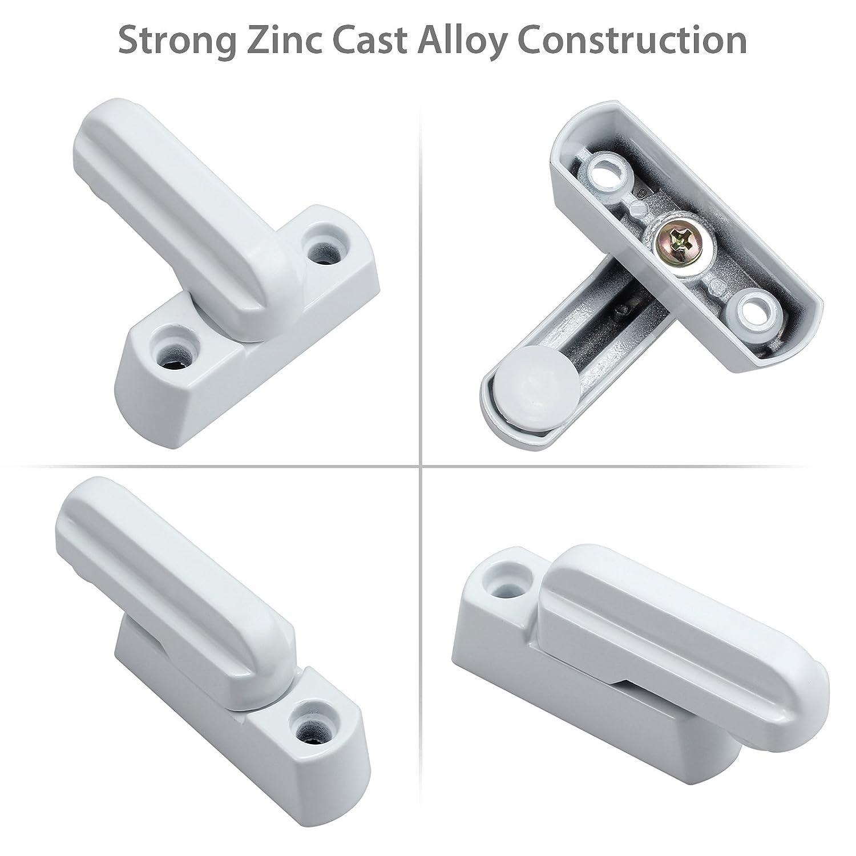 Neoteck 8 Piezas bloqueo de ventana Blanco zinc fuerte funde aleación extra lock Seguro para Varios UPVC/PVC de Puerta y Ventana y Seguridad Doméstica: ...