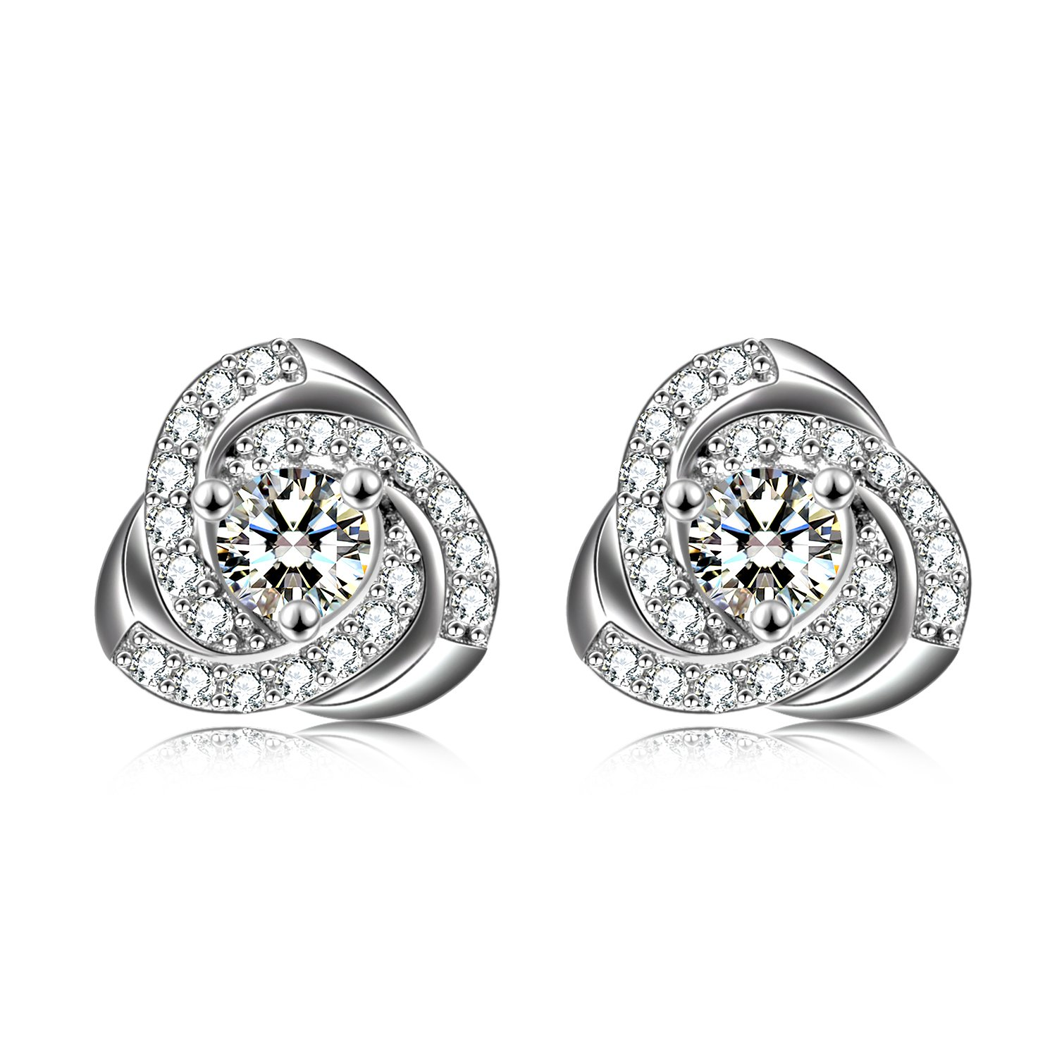 Love Knot Earrings SOULMEET Sterling Silver Cubic Zirconia Stud Earrings for Women