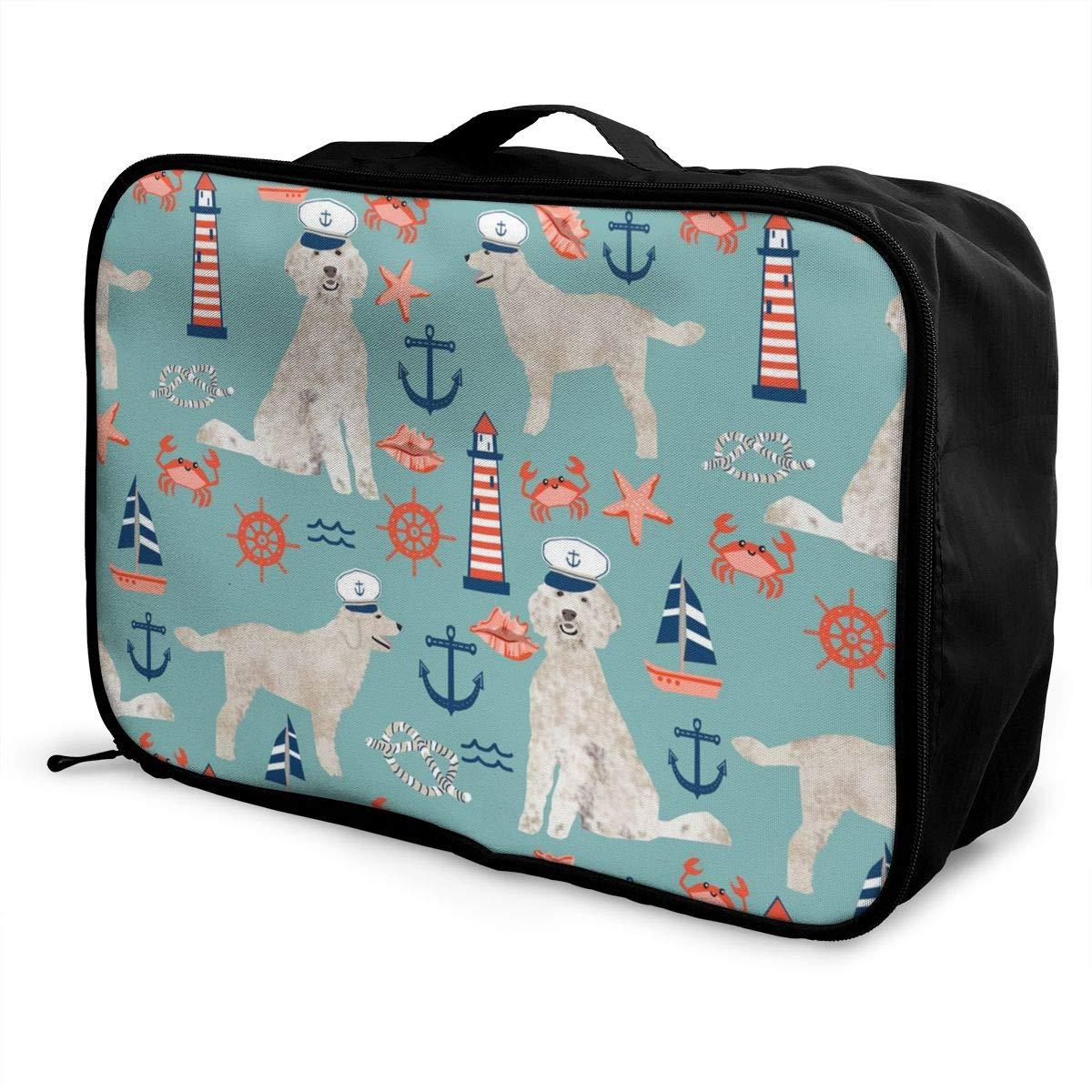 Capitan Golden Doodle Nautical Dog Travel Duffel Bag Casual Large Capacity Portable Luggage Bag Suitcase Storage Bag Luggage Packing Tote Bag Weekend Trip