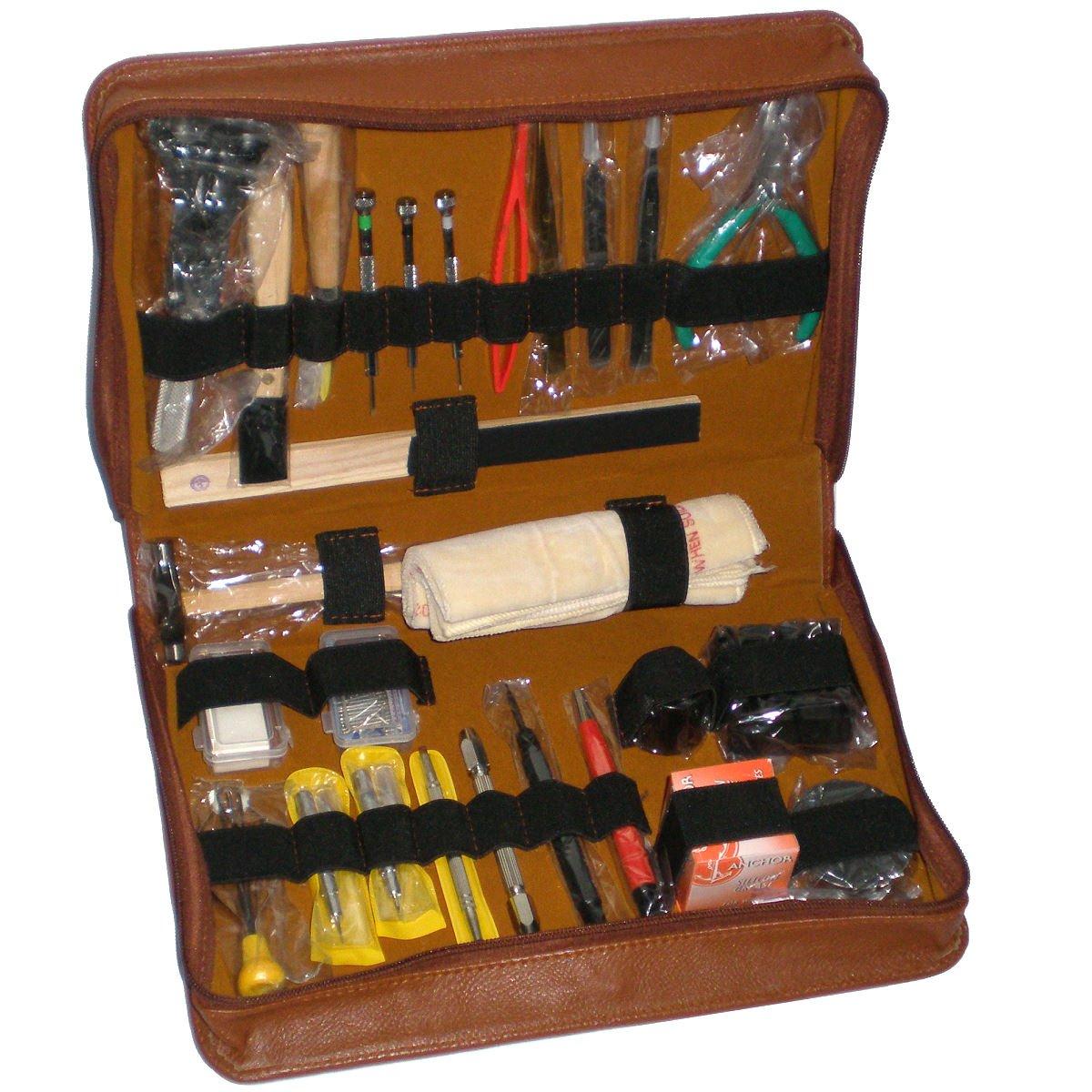 Großes Werkzeugset EXQUISITE mit braunem PU-Leder-Etui