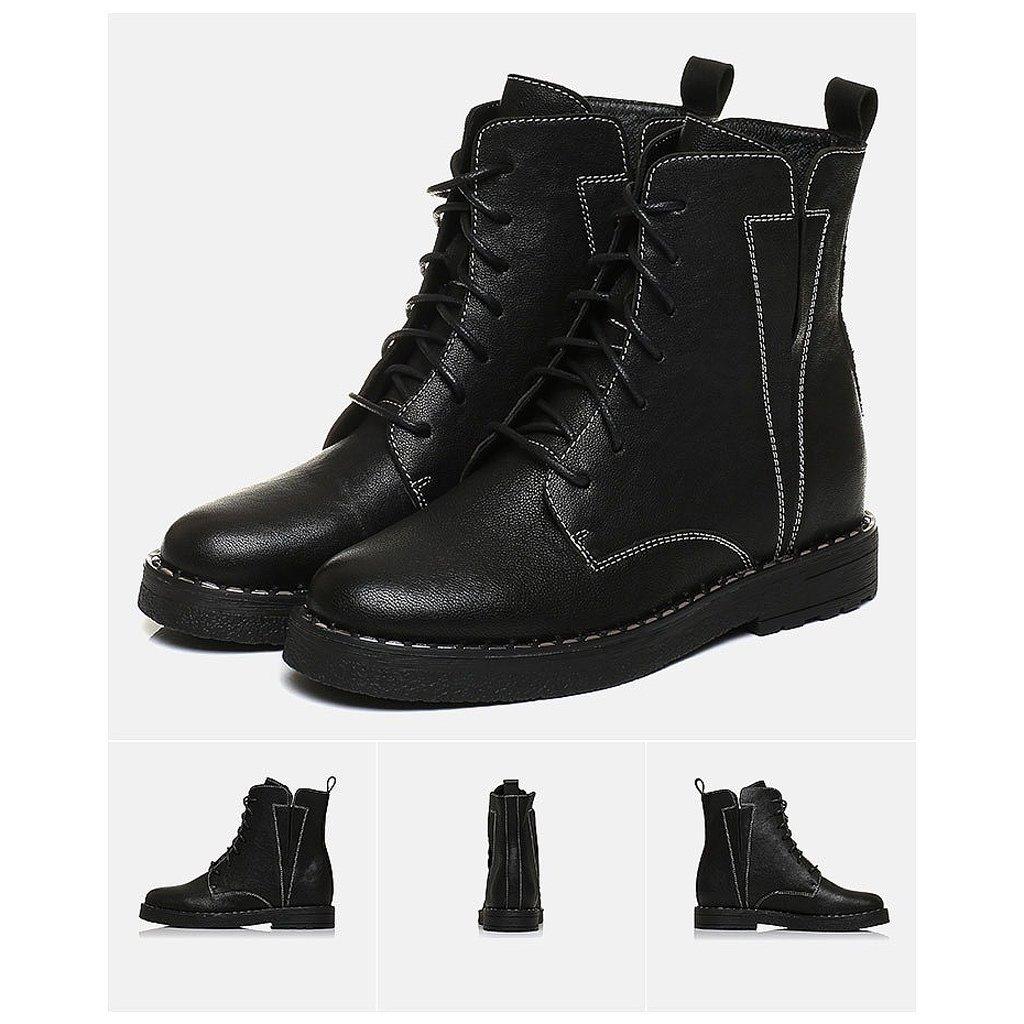 Women's Martin boots winter sheepskin handsome medium tube boots ( Color : Black , Size : US:5UK:4EUR:35 )