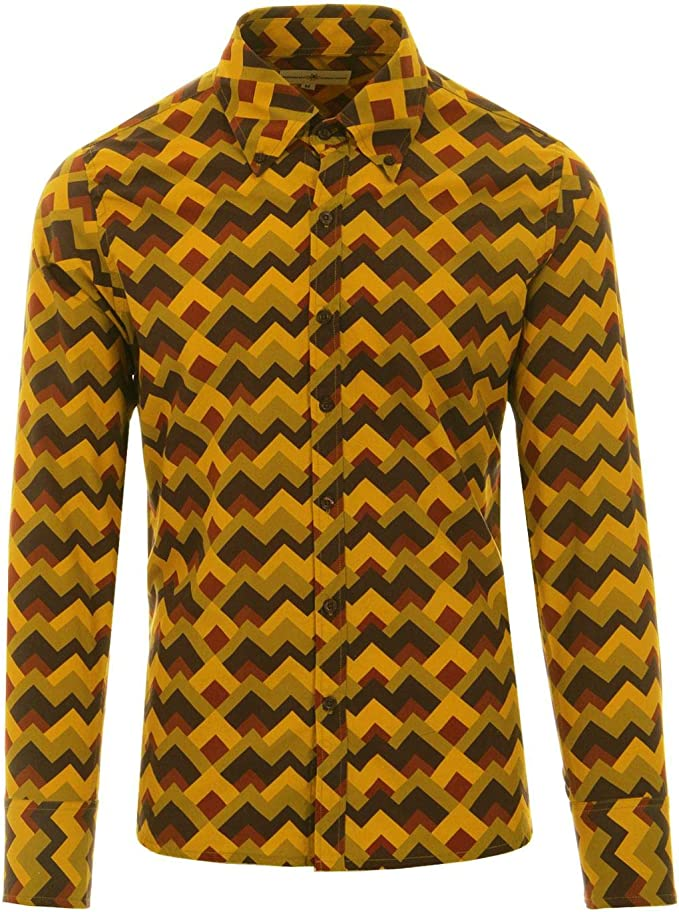 Mens Vintage Shirts – Casual, Dress, T-shirts, Polos Madcap England Mens Trip Zig Zag Retro Mod 60s 70s Long Sleeve Button Down Shirt £39.99 AT vintagedancer.com