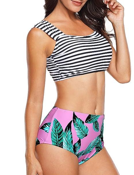 510324bd92 Angerella Womens Retro Classic Two Piece Bikini Crop Top Swimsuit Banded  Swimwear  Amazon.co.uk  Clothing