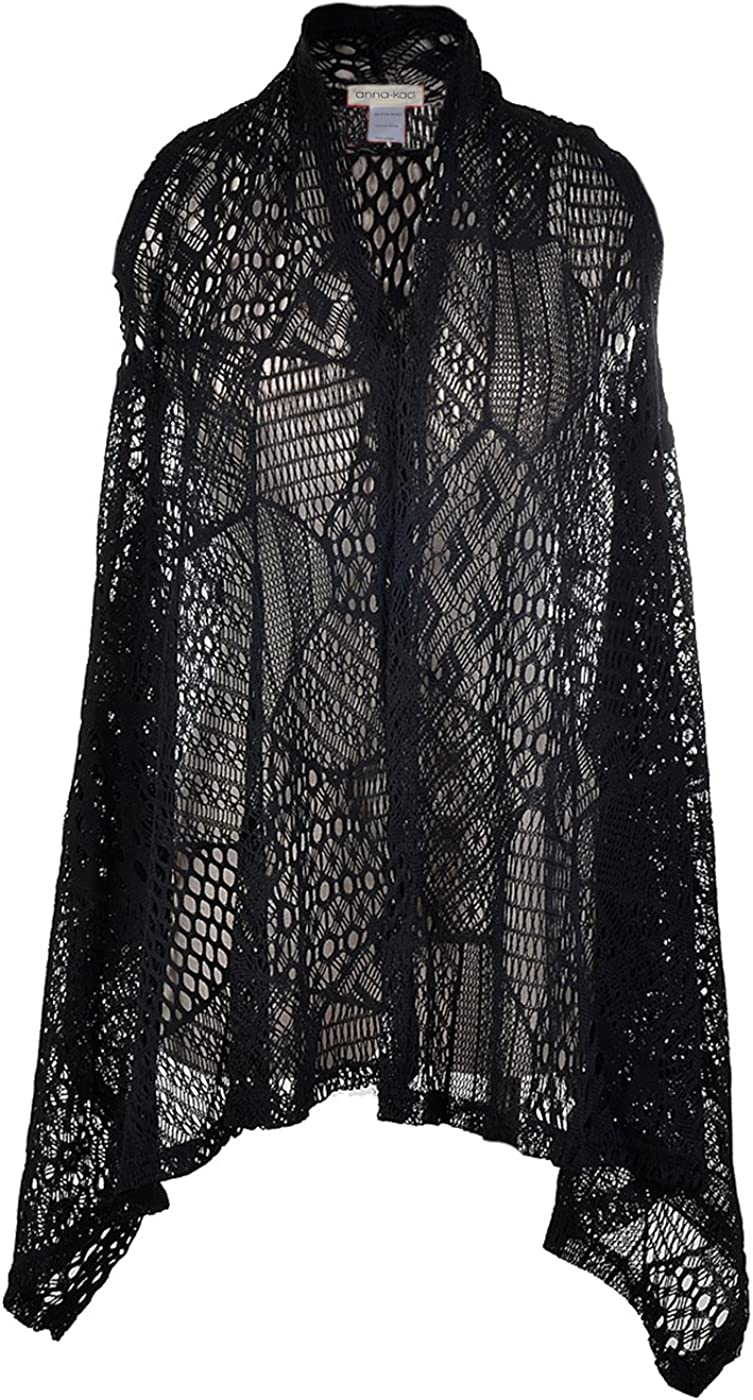 Anna Kaci Womens Sleeveless Open Front Crochet Shawl Cardigan Bikini Cover Up