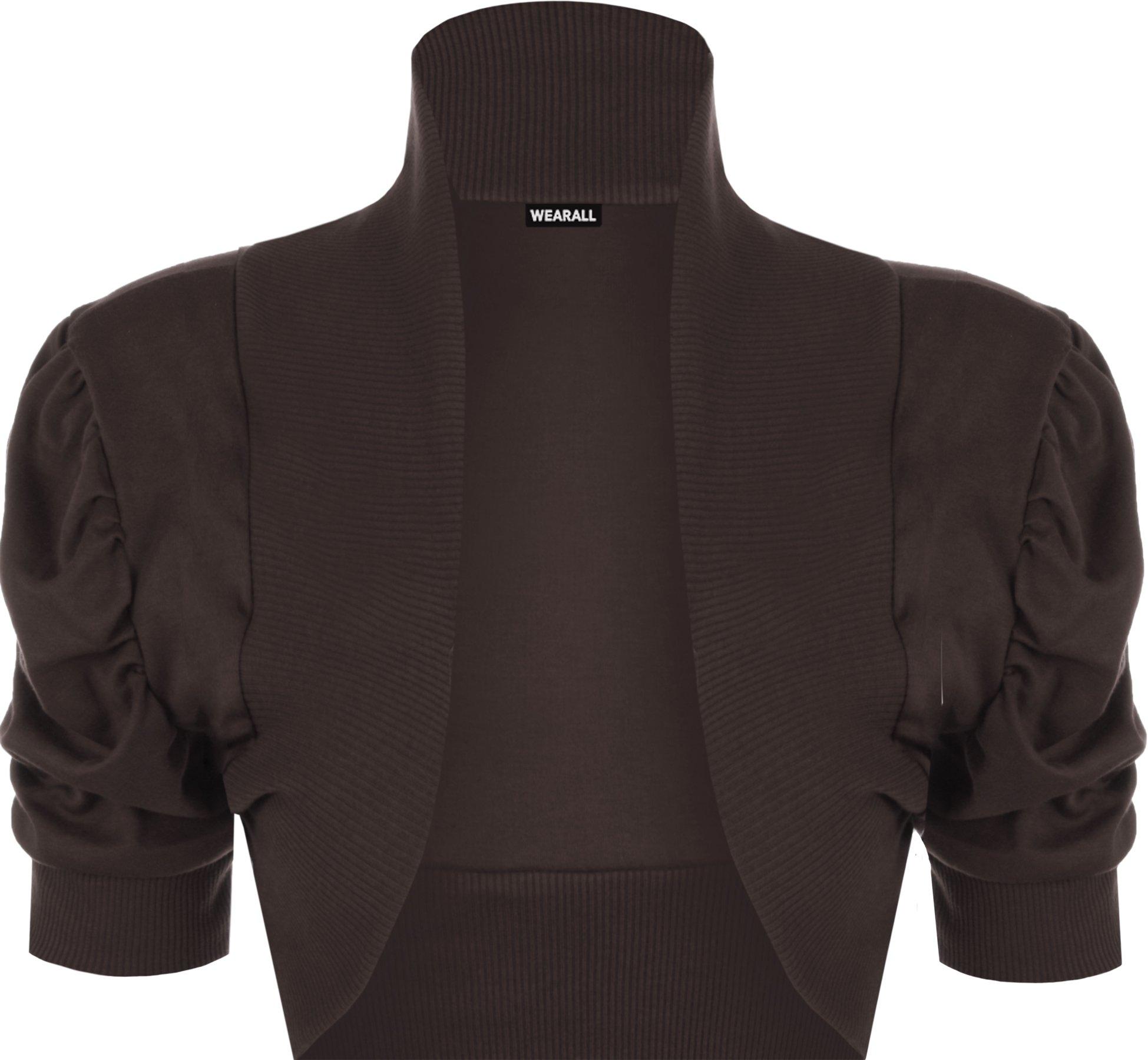 WearAll Women's Ruched Shrug Ladies Bolero Top - Brown - US 16-18 (UK 20-22)