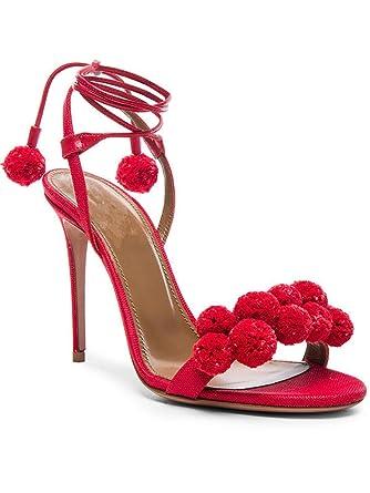 ce087fe0292 Amazon.com  Woman Sandals High Heels 10CM Pom Pom Sandals Women Shoes Open  Toe Women Sandals  Clothing