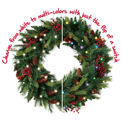 Prelit Christmas Wreath.Cordless Pre Lit Cone Berry Christmas Wreath
