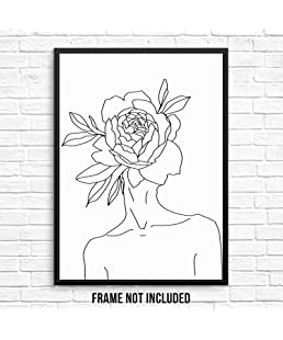 "Sincerely, Not One Line Wall Art Print Abstract Woman's Body Shape with Flower Home Decor Poster 11""x14"" UNFRAMED Minimalist Artwork for Living Room Bedroom Bathroom (11""x14"" Flower Head)"