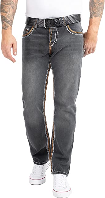 Rock Creek - RC-2056 - Pantalones vaqueros de diseño - Costuras gruesas - Vintage - Azul - W29-44