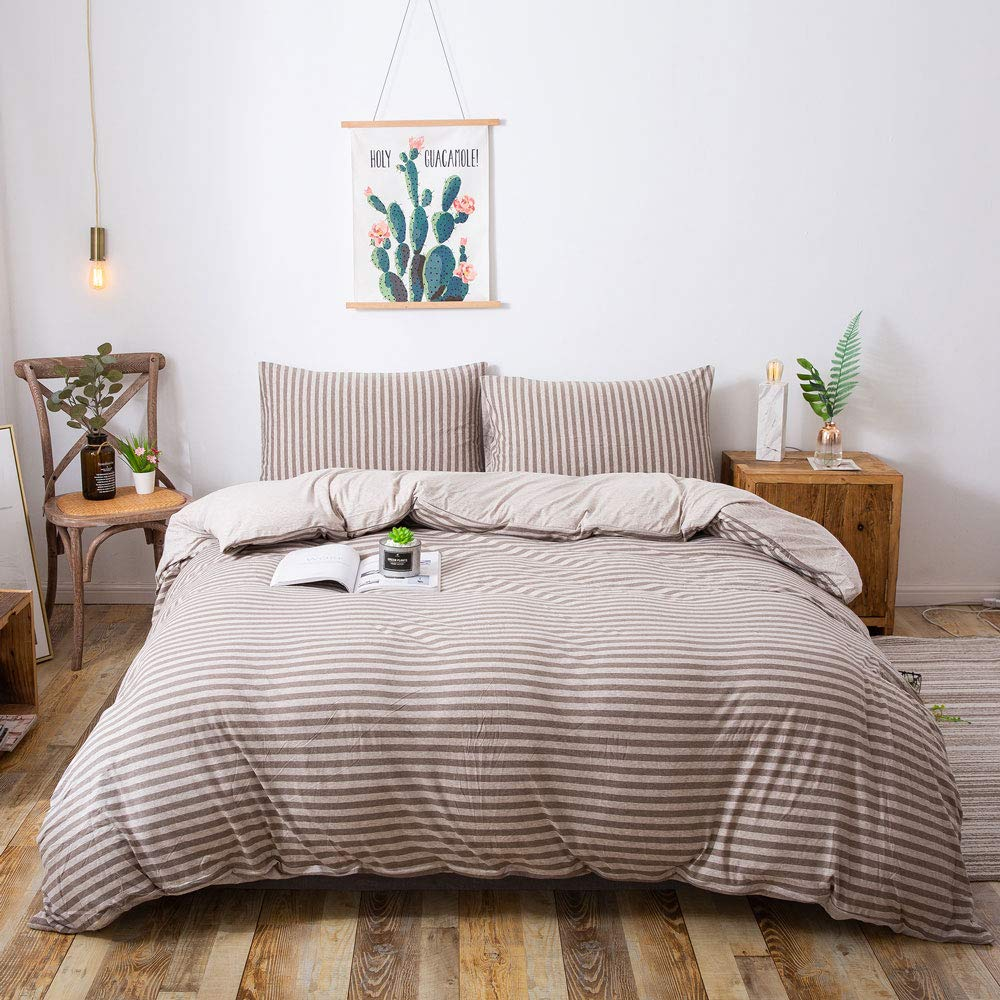 Household Jersey Cotton Duvet Cover, Jersey Knit Cotton Duvet Cover Set 3 Pieces, Simple Solid Design, Super Soft and Easy Care (Stripes Coffe, King)