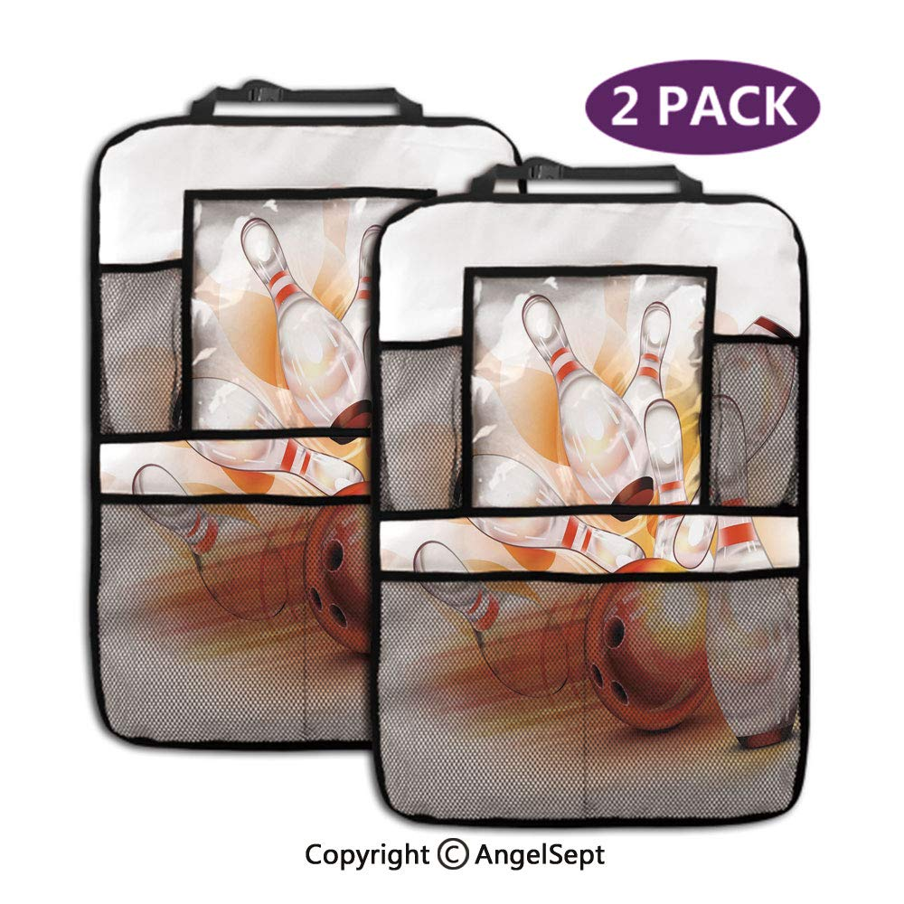 Storage Pockets Back seat Organizer,Abstract Colorful Ball Crashing into Vivid Skittles Artsy Red Orange White,19.3x27.2inch,Fit Travel Accessories for Kid & Toddlers(2 Pack) by RWNFA