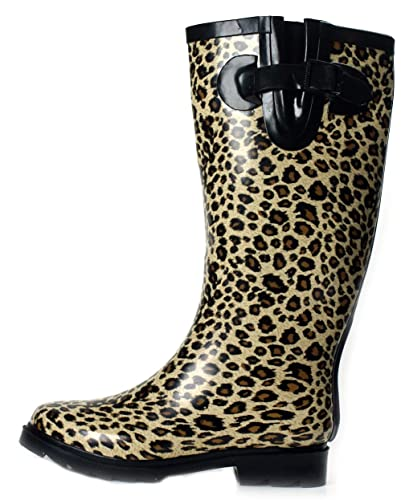 Amazon.com | Rain Boots Rubber Women Leopard New Size Flat S ...