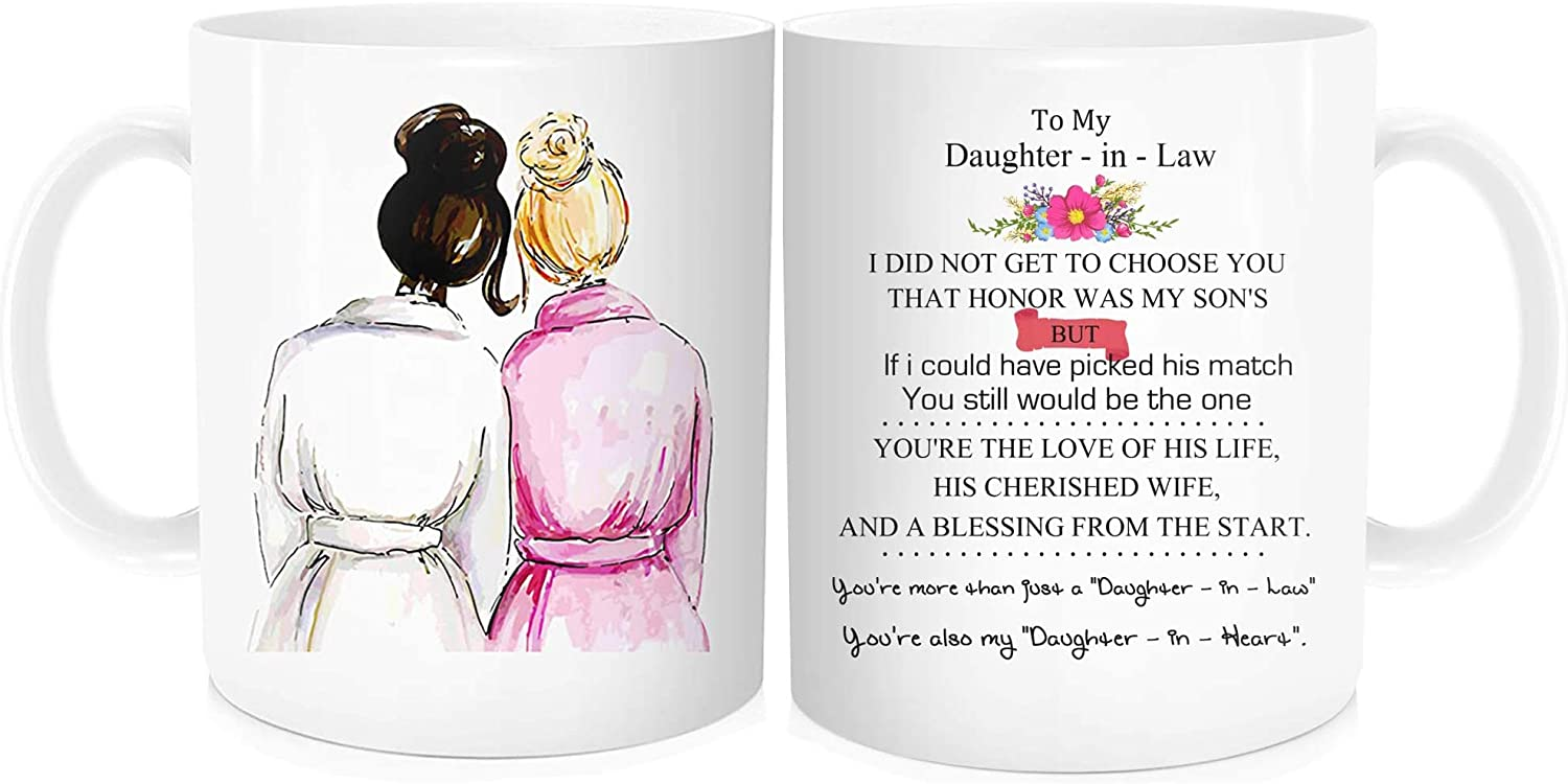 Funny Coffee Mug With Inspirational Quote For Bride To My Daughter In Law My Son S Honor Wedding Bridal Party Valentine S Day From Mother In Law White Fine Bone