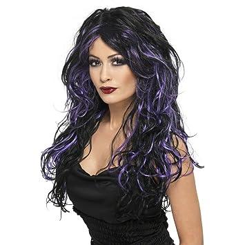 Gothic peluca de pelo largo negro-púrpura peluca de pelo largo para mujer de la