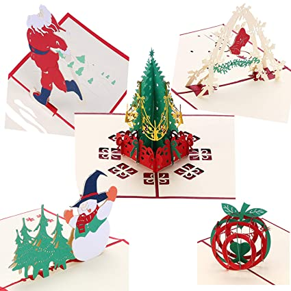 Beautiful 3d Pop Up Santas Sleigh Greeting Card Merry Christmas Wedding Postcard Gift Hot Bands Without Stones