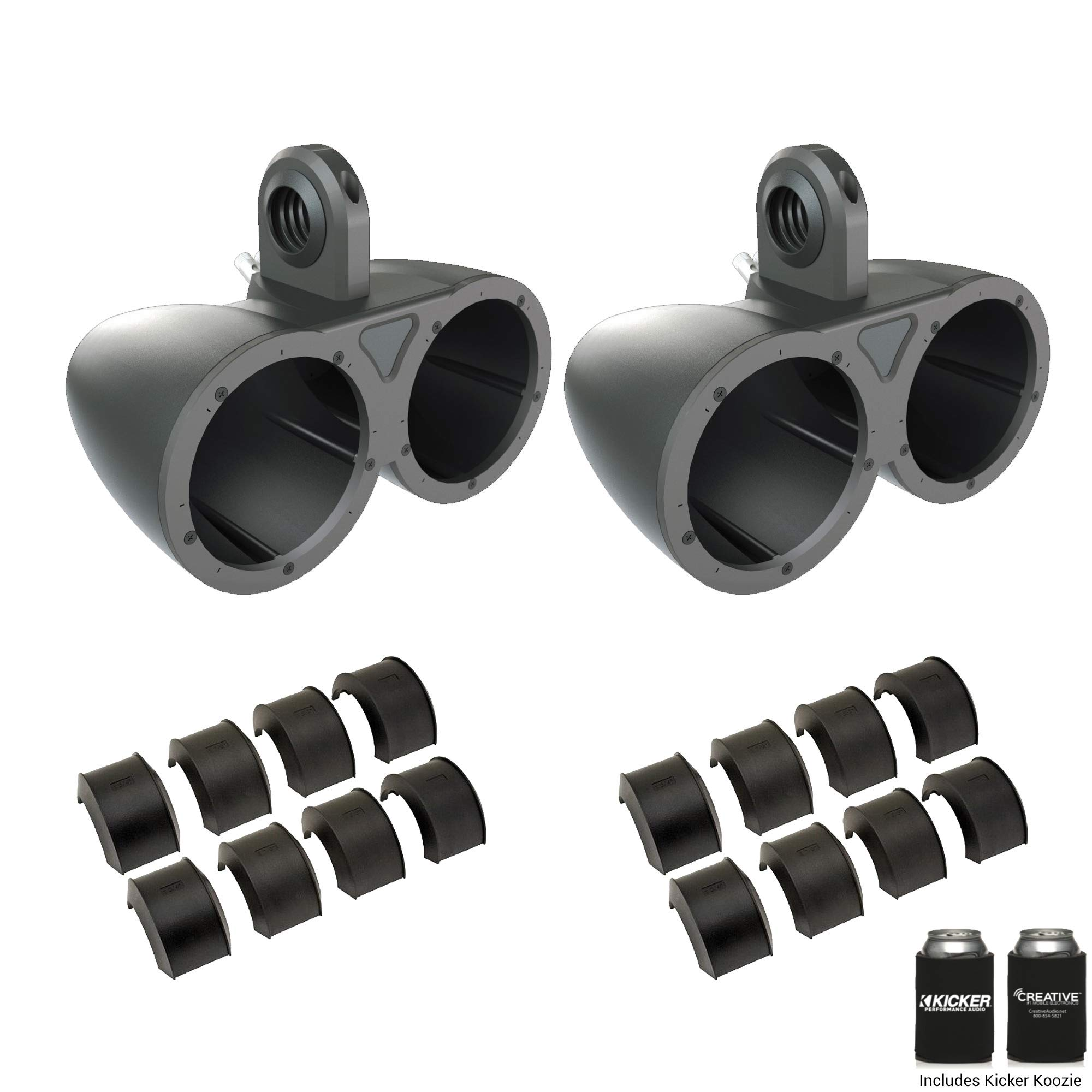 Kicker KMTED Dual 6.5'' Empty Wake Tower/Roll Bar Enclosures with KMTAP Adapter Pack for UTVs