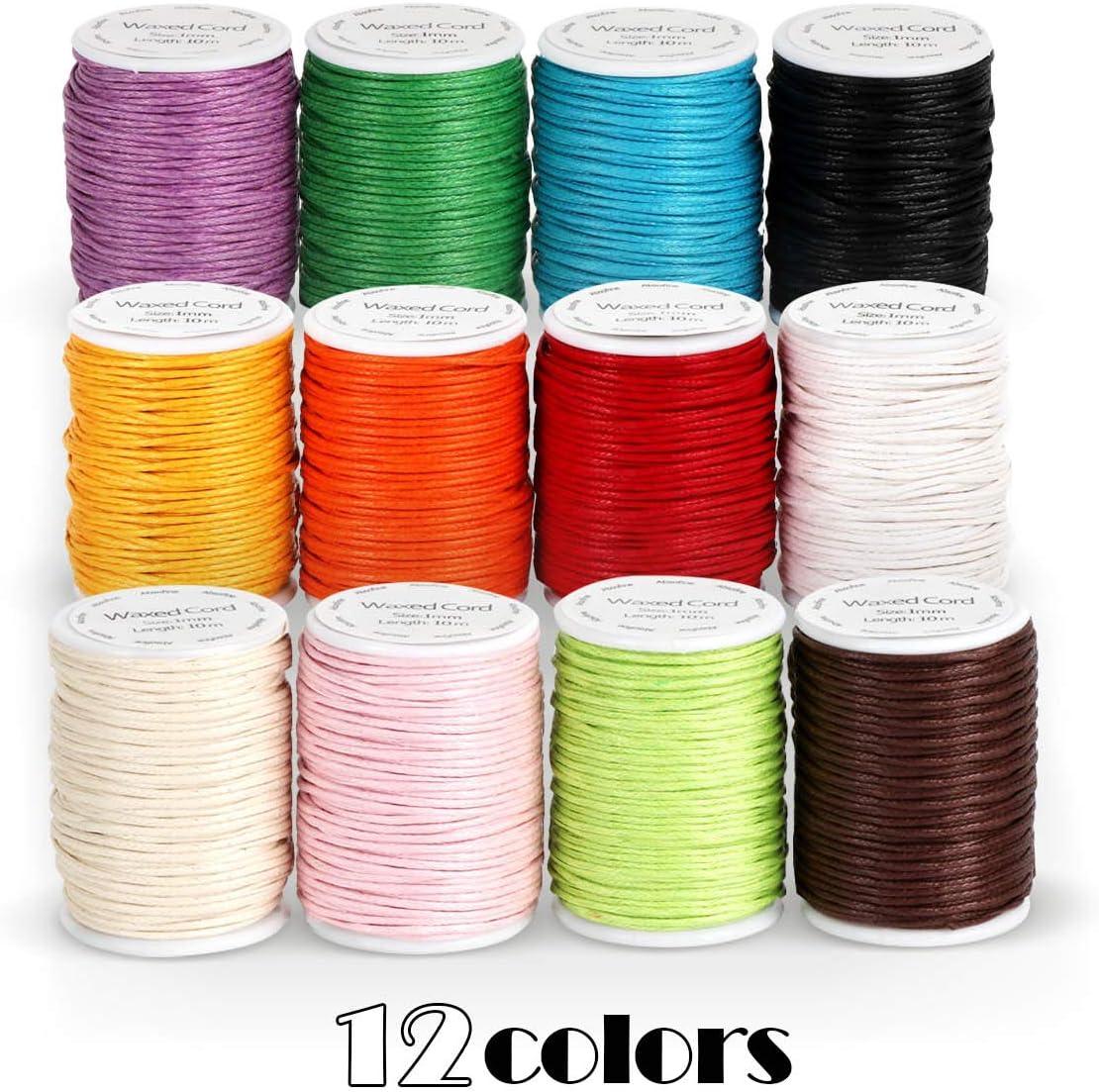 5 Mètres Blanc pour Colliers et Bracelets de perles Cordon Coton Ciré 0,8mm